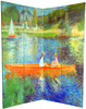 6 ft. Tall Double Sided Works of Renoir Room Divider - The Seine/The Luncheon 4 Panel