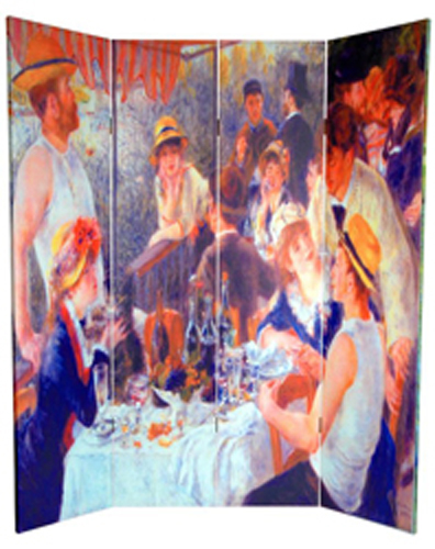 6 Ft Tall Solid Frame Fabric Room Divider 4 Panels: 6 Ft. Tall Double Sided Works Of Renoir Room Divider