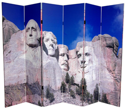 6 ft. Tall Double Sided Monuments Canvas Room Divider - Rushmore/Grand Canyon 6 Panel