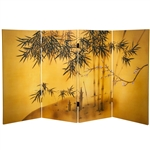 3 ft. Tall Double Sided Bamboo Tree Canvas Folding Screen in 4 Panels