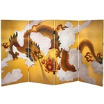 3 ft. Tall Double Sided Dragon in the Sky Canvas 4 Panel Folding Screen
