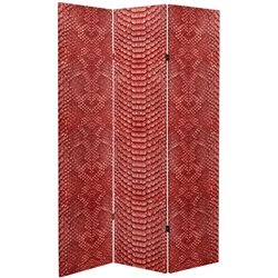 6 ft. Tall Double Sided Red Snake Print Canvas Room Divider