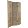 6 ft. Tall Double Sided Tan Snake Print Canvas Room Divider