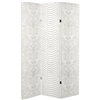 6 ft. Tall Double Sided White Snake Print Canvas Room Divider