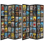 6 ft. Tall Double Sided Tarot Canvas Room Divider Screen