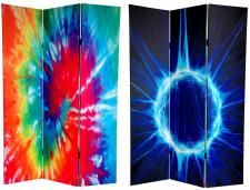 6 ft. Tall Double Sided Tie Dye Canvas Room Divider