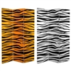 6 ft. Tall Double Sided Tiger Print Canvas Room Divider