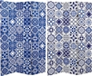 6 ft. Tall Double Sided Blue and White Tile Canvas Room Divider