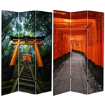 6 ft. Tall Double Sided Japanese Torii Gate Canvas Room Divider Screen
