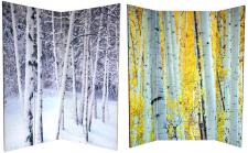 6 ft. Tall Double Sided Birch Trees Room Divider 4 Panel