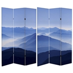 6 ft. Tall Double Sided Misty Mountain Canvas Room Divider Screen