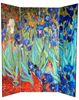 6 ft. Tall Double Sided Works of Van Gogh Canvas Room Divider - Irises/Starry Night Over Rhone 4 Panel
