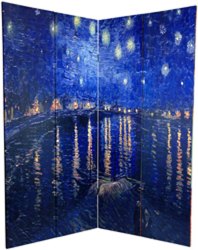 6 Ft Tall Solid Frame Fabric Room Divider 4 Panels: 6 Ft. Tall Double Sided Works Of Van Gogh Canvas Room