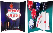 6 ft. Tall Double Sided Las Vegas Poker Canvas Room Divider 4 Panel
