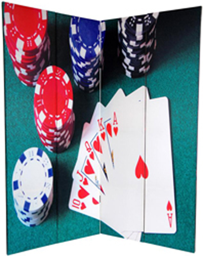 6 Ft Tall Solid Frame Fabric Room Divider 4 Panels: 6 Ft. Tall Double Sided Las Vegas Poker Canvas Room