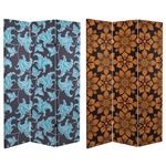 6 ft. Tall Double Sided Arabesque Wallpaper Canvas Room Divider