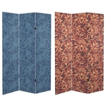 6 ft. Tall Double Sided Floral Wallpaper Canvas Room Divider