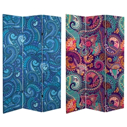 6 ft. Tall Double Sided Psychedelic Wallpaper Canvas Room Divider