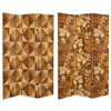 6 ft. Tall Double Sided Wood Inlay Pattern Canvas Room Divider
