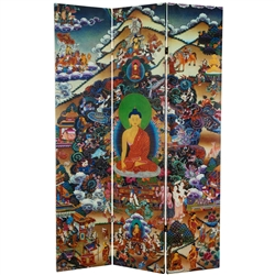 6ft Tall Double Sided Footprints of Enlightenment Canvas Folding Screen