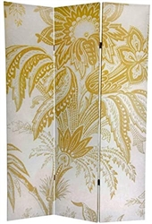 6 ft. Tall Gold Toile Double Sided Room Divider Screen