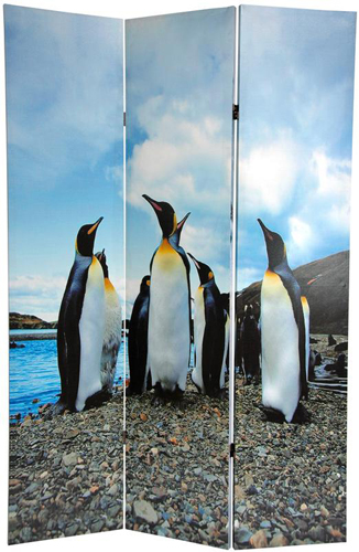 6 Ft Tall Solid Frame Fabric Room Divider 4 Panels: 6 Ft. Tall Penguin Double Sided Room Divider