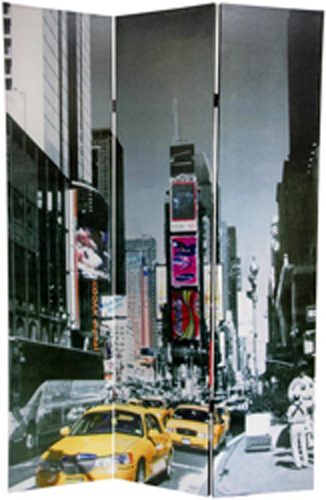 6 Ft Tall Solid Frame Fabric Room Divider 4 Panels: 6 Ft. Tall New York City Taxi Double Sided Room Divider