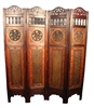 Decorative Vintage Style 4 Panel Asian Folding Screen III