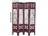 6ft Tall Oriental Wooden Room Divider Screen with Floral Painting