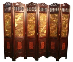 Decorative Vintage 6 Panel Asian Screen