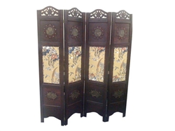 6Ft Vintage Wooden Asian Three Panel Room Divider Screen