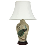 "Asian/Oriental 25"" Peacock on Branch Porcelain Jar Lamp"