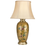 "Asian/Oriental 27"" Flowers on Pale Gold Porcelain Vase Lamp"
