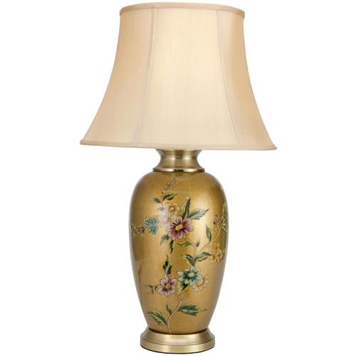 Asian Oriental 27 Quot Flowers On Pale Gold Porcelain Vase Lamp