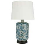 "Asian/Oriental 25"" Blue & White Cherry Blossom Porcelain Lamp"