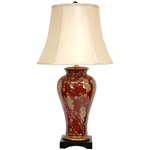 "Asian/Oriental 30"" Glazed Sakura Blossom Porcelain Vase Lamp"