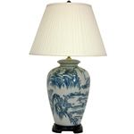 "Asian/Oriental  29"" Blue and White Chinese Landscape Lamp"