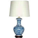 "Asian/Oriental 24.5"" Blue & White Porcelain Round Vase Lamp"