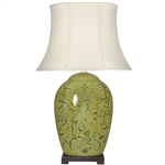 "Asian/Oriental 32"" Harvest Season Porcelain Lamp"