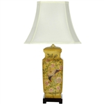 "Asian/Oriental 27.5"" Birds and Flowers Wooden Design Porcelain Lamp"