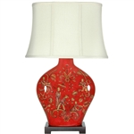 "Asian/Oriental 27"" Fruitful Harvest Porcelain Lamp"
