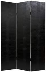 6 ft. Tall Faux Leather Black Crocodile Room Divider Screen