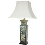 "Asian/Oriental 26"" Blue Landscape Porcelain Lamp"