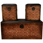 Set of 3 Old Worlde European Storage Boxes