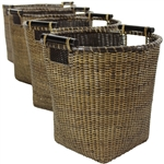 Rattan Tall Storage Basket ( Set of 4 ) - Antique Finish