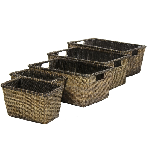 rattan basket small from storage box.htm set of 5 space saver ratan storage baskets  set of 5 space saver ratan storage baskets