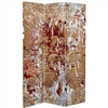 6 ft. Tall Fire and Bronze Canvas Room Divider