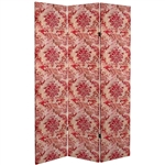 6 ft. Tall Aged Damask Canvas Room Divider