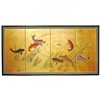 3 ft. Tall Gold Leaf Seven Lucky Fish Folding Screen