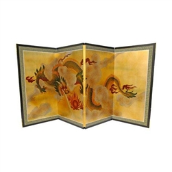 3ft Tall Dragon in the Sky on Gold Leaf Asian Decorative Folding Screen
